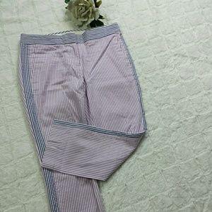 J.Crew Campbell Purple Striped Capri Pants